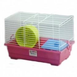 Jaula hamster 2 38x23x10cm+rueda+casita