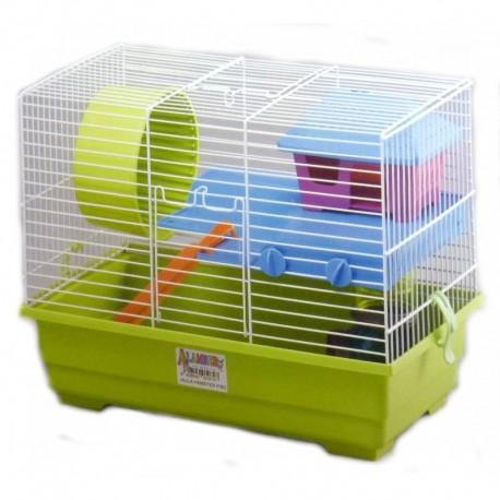 Jaula hamster piso 37.5x22.5x28.5cm+rueda+casita