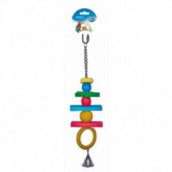Juguete loro madera cadena c/campana 38cm