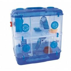 Jaula hamster tess deluxe 2 pisos 39x33x44cm azul