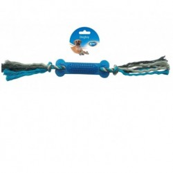 Hueso goma con cuerda 45cm gris/azul