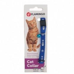 Collar gato nylon azul raspa+ huella 10mmx30cm flamingo