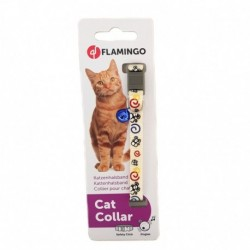 Collar gato nylon raton blanco 10mmx30cm flamingo
