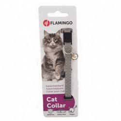 Collar gato nylon plata reflectante 10mmx30cm flamingo
