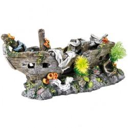 Barco naufragio + plantas 29x14x12