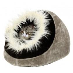Casita cueva suave gato 40x40x28cm negro-gris