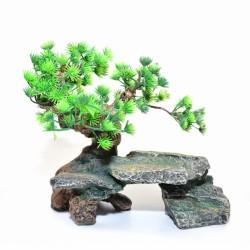 Decoracion roca con bonsai 28.5x17x25cm Duvo