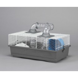 Jaula hamster 1-50 50x28x24cm+tubos+rueda+casita