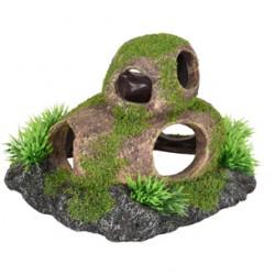 Piedras con agujero y musgo 17x14x10cm