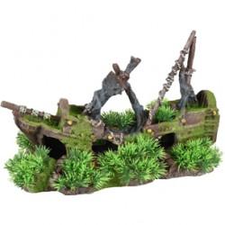 Barco con musgo y plantas gd 32x14x21cm