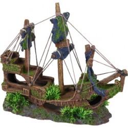 Barco 3 mastiles con musgo 31x11x27cm