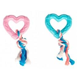 Juguete corazon goma puppy con cuerda 14cm