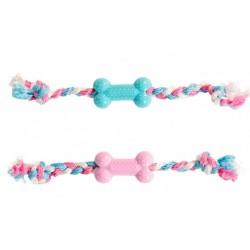 Juguete huesito goma puppy con cuerda 35cm