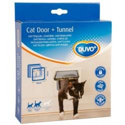 Puerta gato-perro+tunel blanca Duvo 19cm+5cm