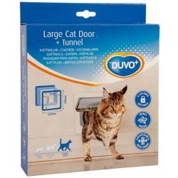Puerta gato-perro+tunel blanca Duvo 23cm+5cm