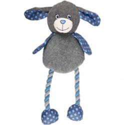 Juguete perro+cuerda gris y azul 34cm