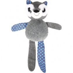 Juguete mapache+cuerda gris y azul 34cm