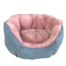 Cuna redonda eco azul y rosa palo 54cm nº04