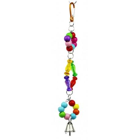 Juguete periquito colgante plastico con campana 34cm
