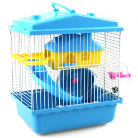 Jaula hamster dos pisos azul 24x17x29cm