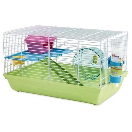 Jaula hamster martha doble 46,5x29,5x26.5cm+rueda+casita
